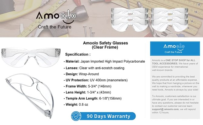 Safety Glasses Clear Specification