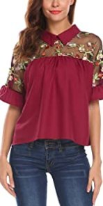 Embroidered Sheer Ruffle Sleeve Blouse Top