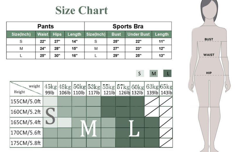 Size charts for buscando gym sets for women 2 piece