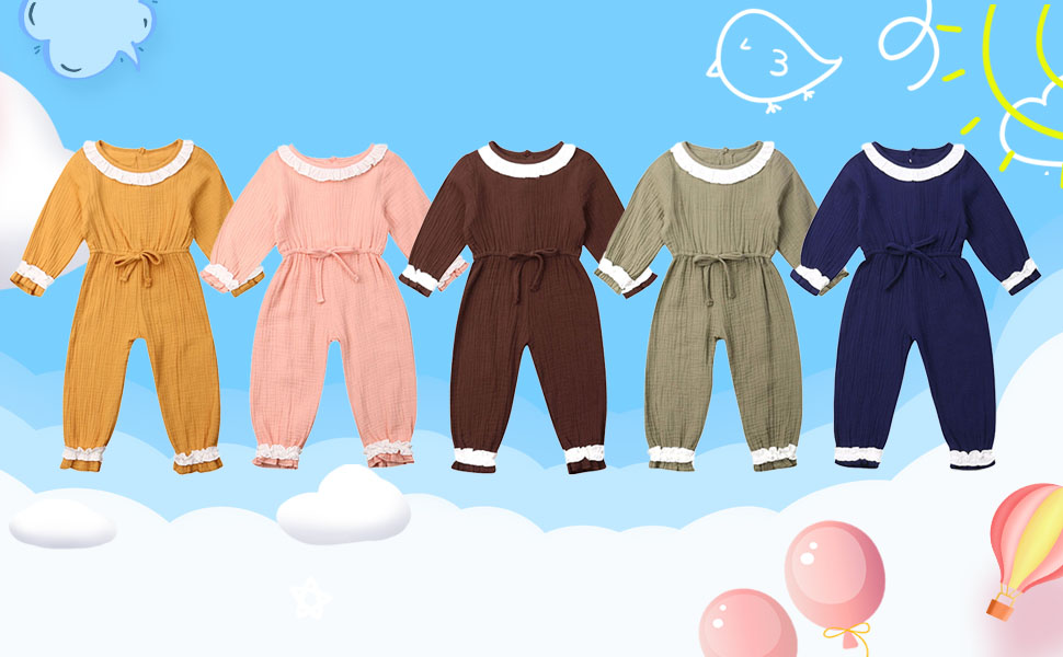 toddler girl clothes 3t 2t rompers babu girl rompers Long sleeve fall jumpsuits cute solid plain