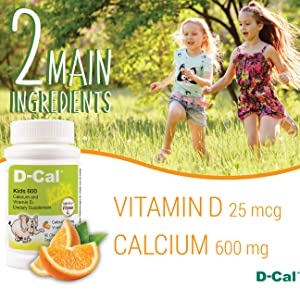 D-Cal Kids 600 contains 25mcg(1000 IU) vitamin D3 and 600mg calcium per tablet