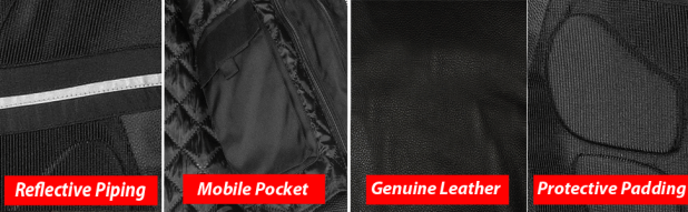 Motorcycle Jacket Features Mobile Pockets Zippers