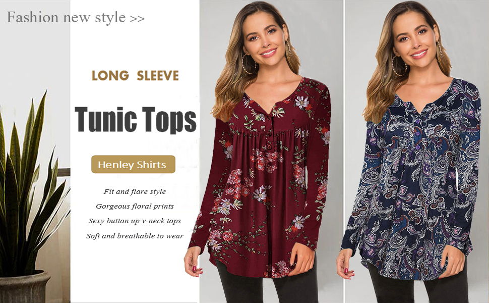 long shirts to wear with leggings Ladies v neck long sleeve floral office blouses flared tunic tops