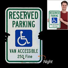 Reserved and Handicapped Parking Signs, Heavy-duty Aluminum Sign, Reflective, Compliant