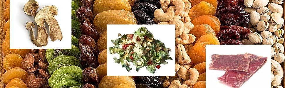 Prodotti secchi: frutta, verdura, funghi, carne, erbe