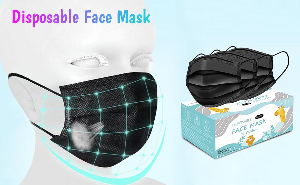 kid black face mask