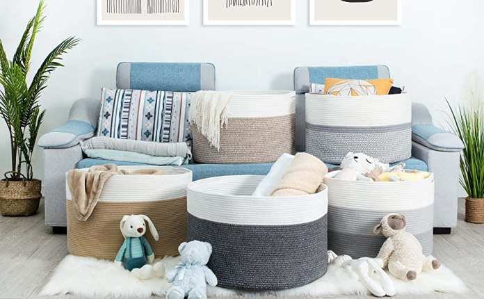 Mintwood Design Cotton Rope Woven Wide Blanket, Laundry, and Toy Basket Full Collection