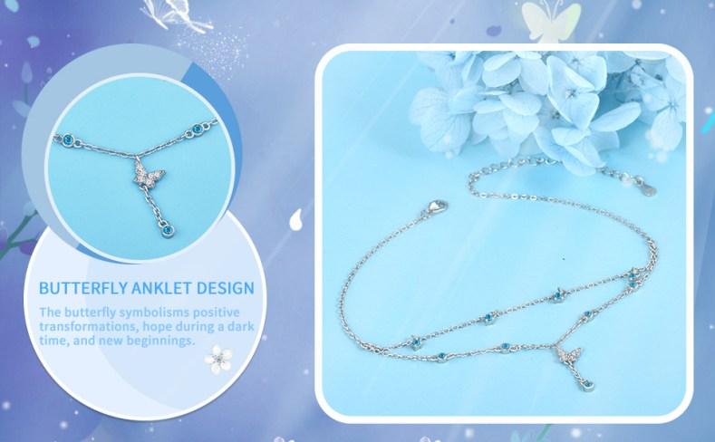 ankle bracelets for women sterling silver silver anklet butterfly sterling silver anklets for women