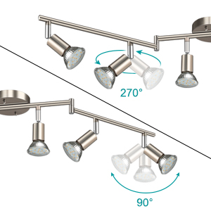This 6 way Ceiling Track Light can be rotated 90°vertically and 270° horizontally