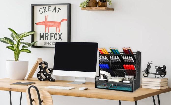 Wellerly desk organizer with drawer office organization