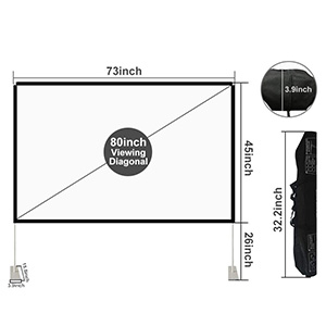 Projector Screen with Stand 80 inch Portable Projection Screen 16:9 4K HD Rear Front Projections Movies Screen with Carry Bag for Indoor Outdoor Home Theater Backyard Cinema Travel