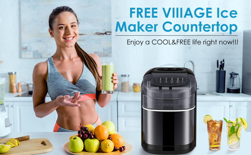 Ice Maker Countertop Machine with Self-Cleaning Function