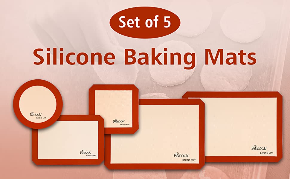 silicone baking mat Silpat cookie non-stick pan liner sheet set macaron round cookie pizza bread
