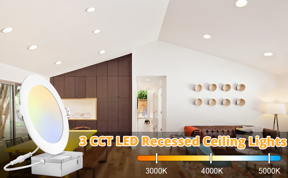 6 Inch LED Recessed Ceiling Light 3CCT