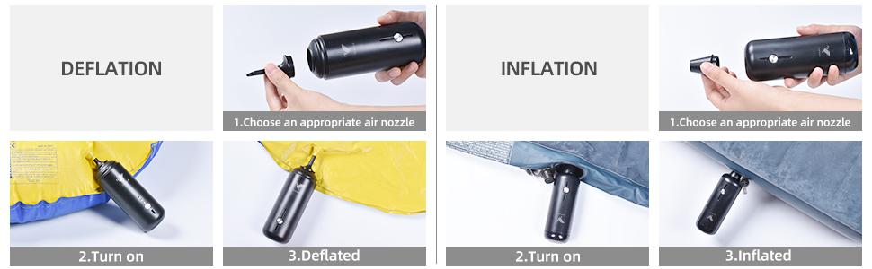 electric air pump deflate&inflate steps