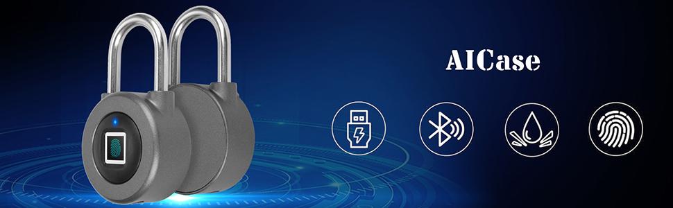Door Lock Fingerprint Recognition Smart Keyless Waterproof Security Anti-Theft Padlock Widely Used