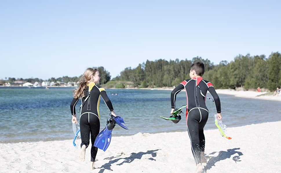 scubadonkey 3 mm neoprene full wetsuits kids youth boys girls watersports swimming