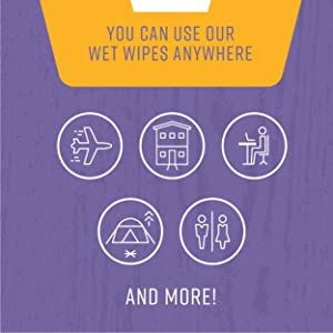 You can use our wet wipes anywhere
