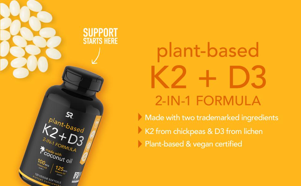 Vitamin k2+ d3, immune support, bone health
