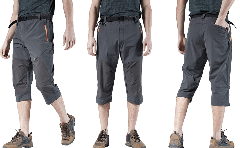 Men's Outdoor Casual Expandable Waist Lightweight Water Resistant Cargo Fishing Hiking Shorts