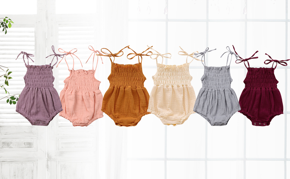 baby girl rompers 0 3 6 9 12 18 months solid color onesies clothes summer outfit cute clothing sets