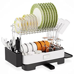 Dish Drying Rack - Popup and Collapse for Easy Storage, Drain Water Directly into the Sink, Room