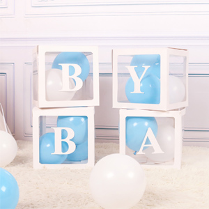 baby shower boxes with letters