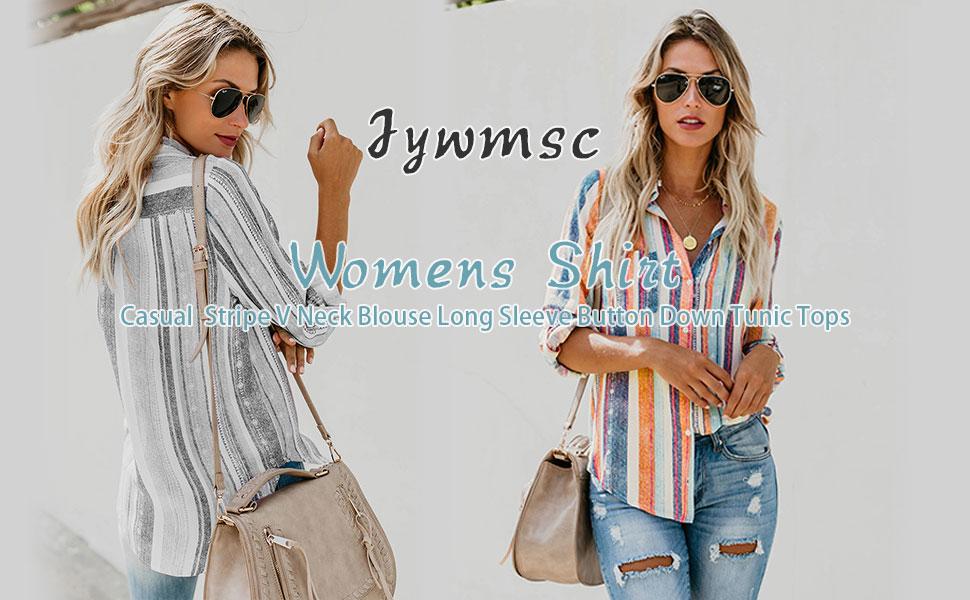 Jywmsc Damen Casual Stripe V-Ausschnitt Bluse Langarm Button Down Shirt Tunika Tops