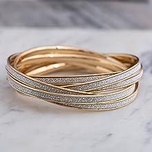 rolling bangle set gold glitter stacking layered millennial bracelets jewelry fashion  steve madden
