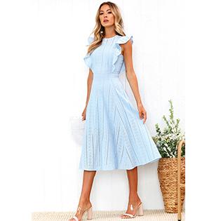 ECOWISH Womens Dresses Elegant Ruffles Cap Sleeves Summer A-Line Midi Dress