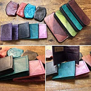 leaf leather wallets and bags