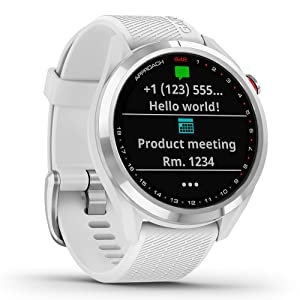 Garmin Approach S42 GPS Golf Smartwatch, Polished Silver with White Band, 2021 Release