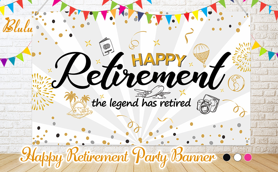 Happy Retirement Party Decorations Extra Large Fabric Black Gold Sign Poster For Retirement Party Supplies Happy Retirement Banner Retirement Party Photo Booth Backdrop Background Banner White Amazon Co Uk Kitchen Home