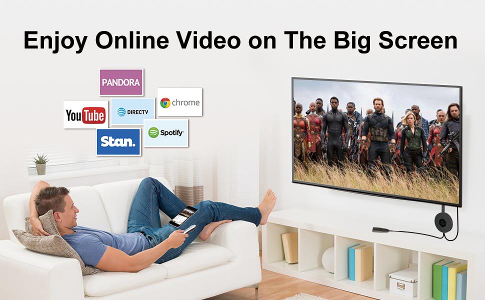 4K 1080P wireless display dongle miracast airplay screen mirroring HDMI converter