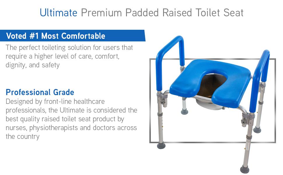 platinum health ultimate premium raised toilet seat for dignity comfort care