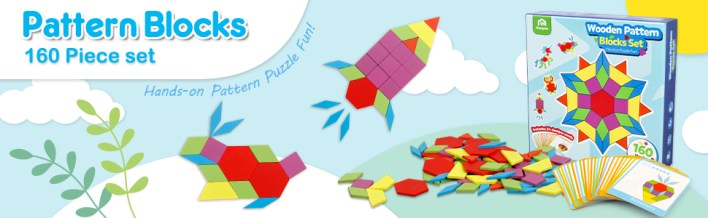Wooden Pattern Blocks Set 130PCS Geometric Manipulative Shape Puzzle