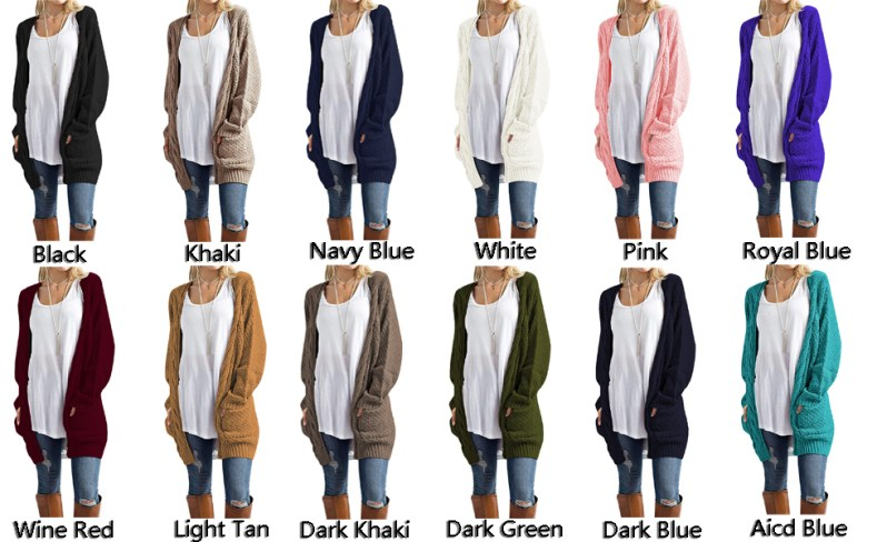 GRECERELLE Women's Loose Open Front Long Sleeve Solid Color Knit Cardigans Sweater Blouses