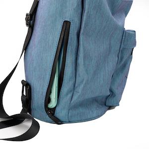 phone backpack pocket with iPhone on eggboards skateboard backpack blue