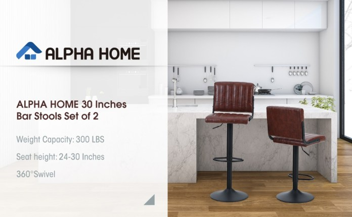 ALPHA HOME 30 Inches Bar Stools Set of 2 Adjustable Counter Height Bar Stools PU Leather Swivel