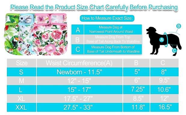 Female Dog Diaper Size Chart