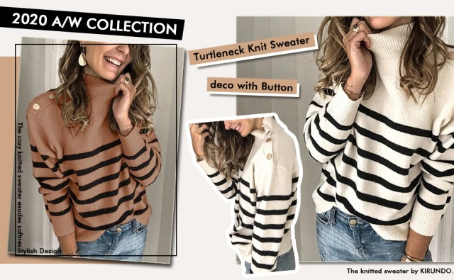 Long Sleeves Knit Sweater Turtleneck Striped Print Loose Pullover Tops Deco with Mental Button
