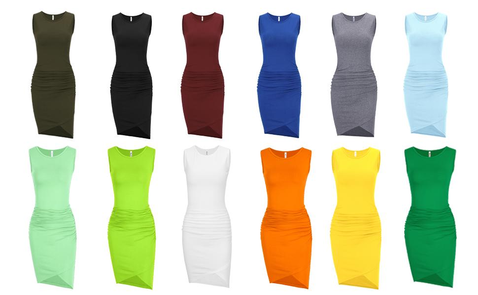 Missufe Women's Sleeveless Ruched Casual Dress Sundress