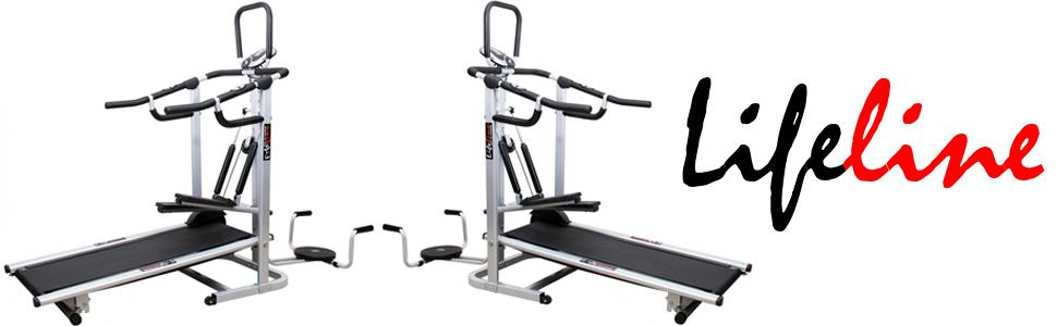 Lifeline 4-in-1 deluxe manual treadmill with twister, Stepper & 3 Level inclination