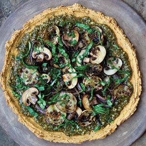 Veggie Pizza with Cauliflower-Yam Crust