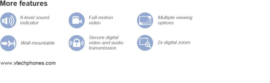 Movimento completo. Visualização múltipla. Montagem na parede. Transmissão digital segura. Zoom digital 2x.