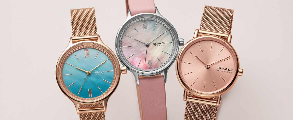 Skagen Women's Watches Gold watch with blue face wiht mesh strap, Pink Watch and Rose Gold Watch