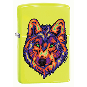 wolf lighters, wolfs, wolves, wolve, neon lighter, neon yellow, color image,