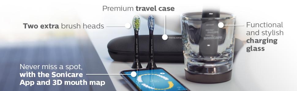 iki ekstra fırça başlığı, cam sonicare uygulamasını şarj eden birinci sınıf seyahat çantası