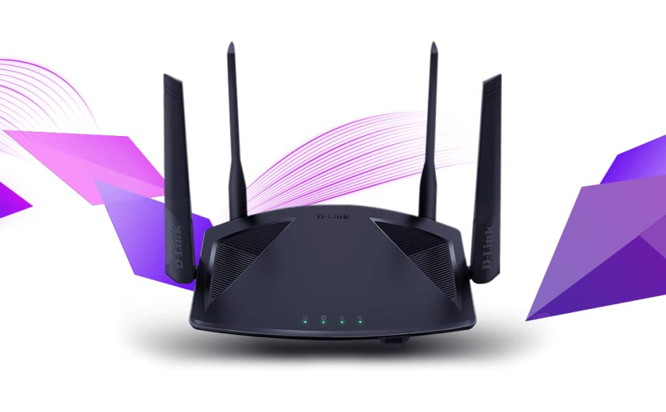 DIR-X1860 AX1800 Wi-Fi 6 Router with purple diamond shapes and wireless waves
