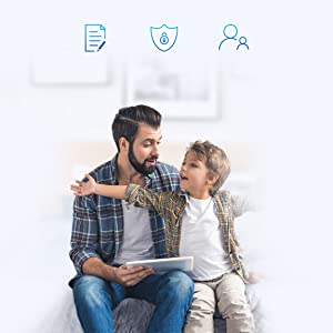 Father with son using a tablet